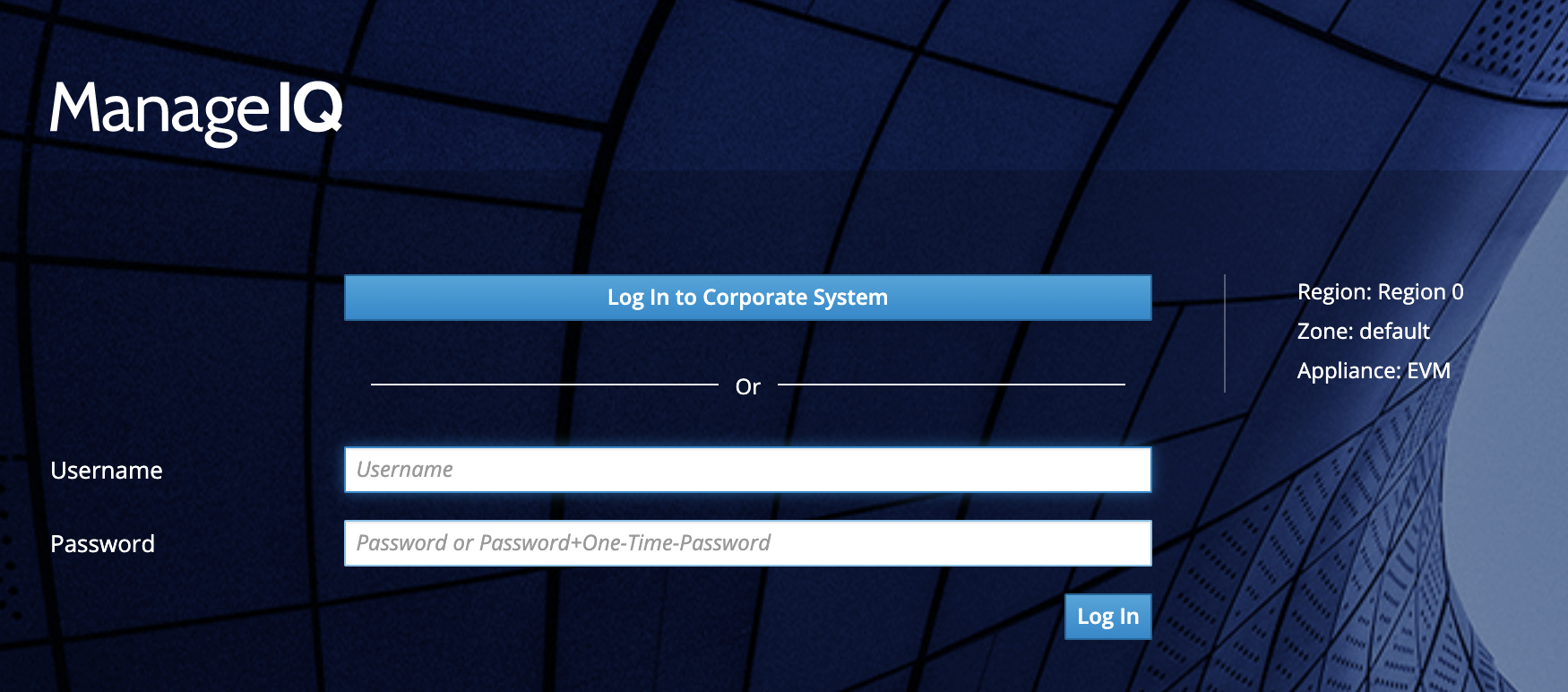 Screenshot showing the ManageIQ login screen with the button: